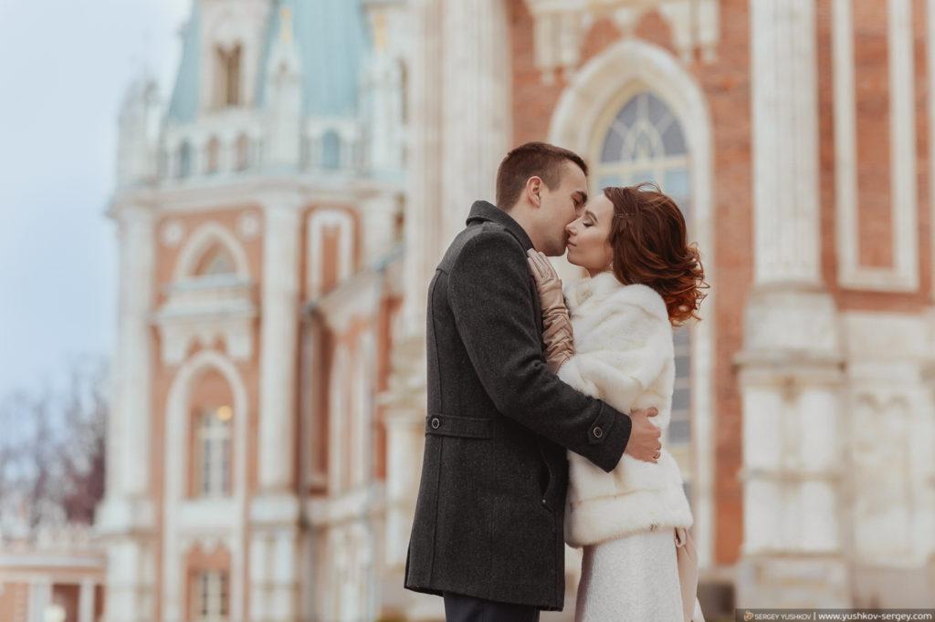 Фотосессия Свадьба для двоих в Москве. Царицыно. Зима. Фотограф - Сергей Юшков