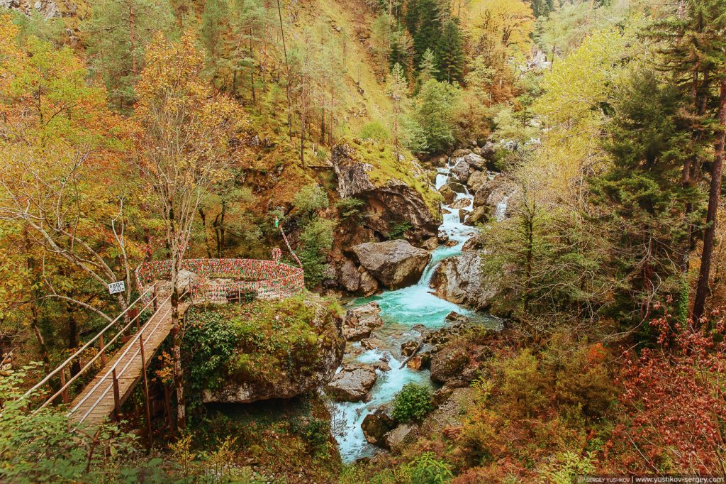 Водопад влюбленных. Юпшарский каньон. Абхазия